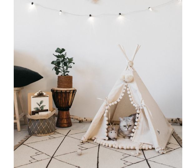 schlafplatz f r haustiere gem tliches tipi zelt f r deine tierischen freunde und mitbewohner. Black Bedroom Furniture Sets. Home Design Ideas
