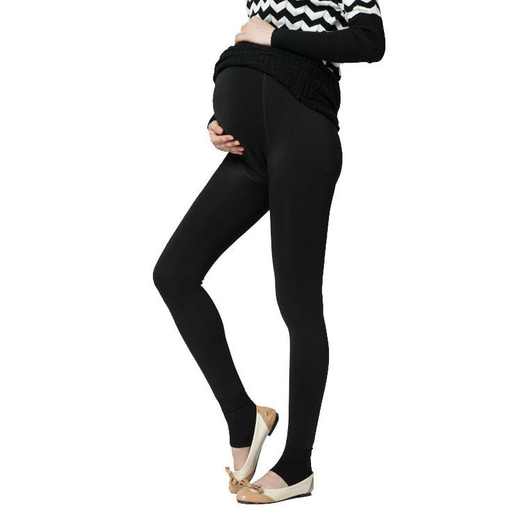 2f61ea32140ab Plus Velvet Thickening Winter Maternity Leggings Pants Clothes For Pregnant  Women Warm High Waist Suspender Pregnancy Trousers