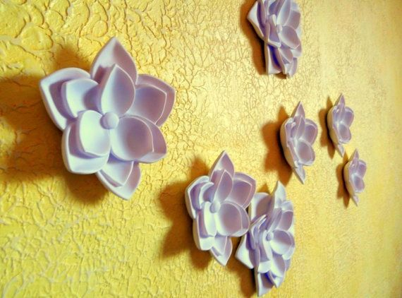 3d wall decoration White lotus Wall hanging art Flower Wall ...