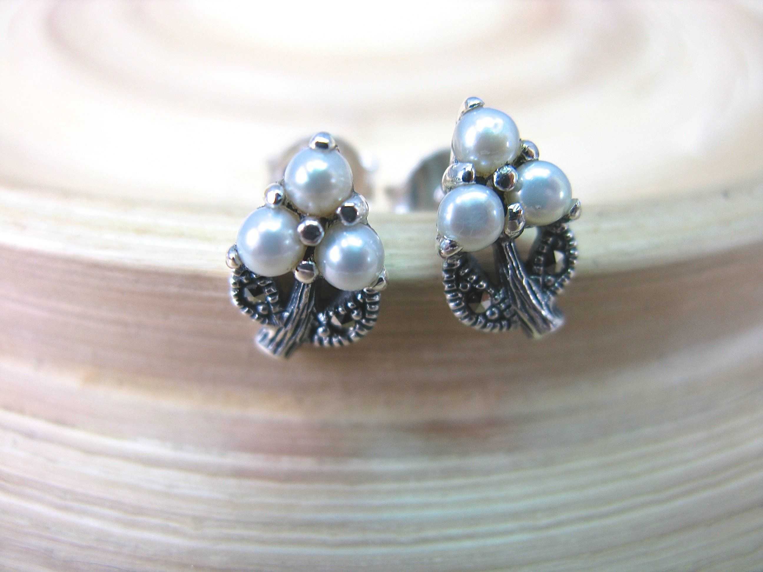 Dragonfly Marcasite Pearl 925 Sterling Silver Stud Earrings