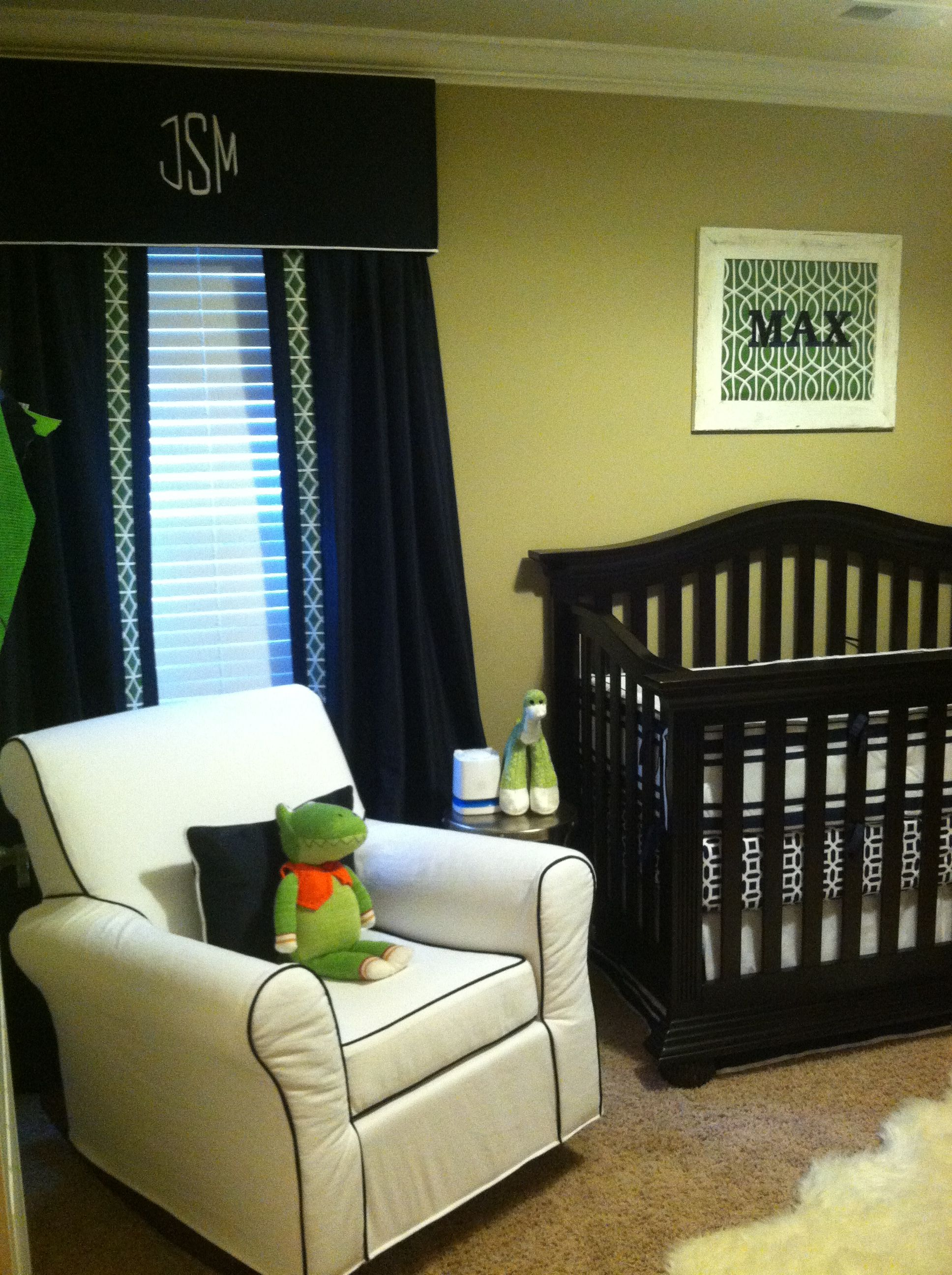 Navy, Green And White Nursery