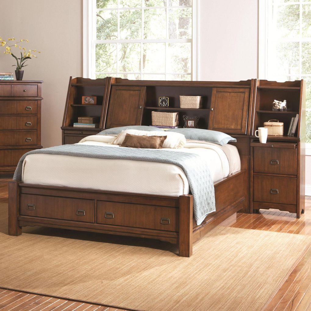 Traditional Bedroom With Oak Wood Storage Headboard King Grendel Eastern King Bookcase Bed And Wi Headboard Storage Wood Bedroom Sets Bookcase Headboard King