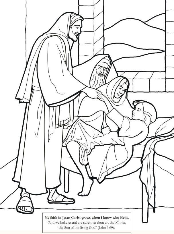 jesus raises a girl from the dead bible coloring page