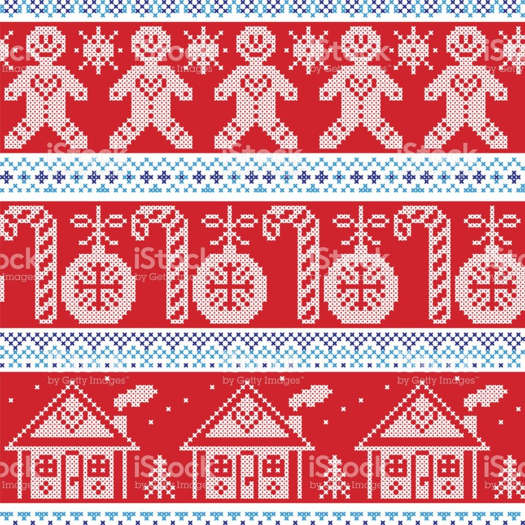 Dark Blue Light Blue And Red Scandinavian Nordic Seamless Pattern Cross Stitch Christmas Cross Stitch Christmas Pattern
