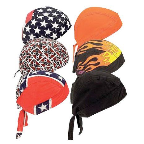 Assorted Cotton Biker Skull Caps Motorcycle Bandana Head Wrap Du Rag Doo 6 pc