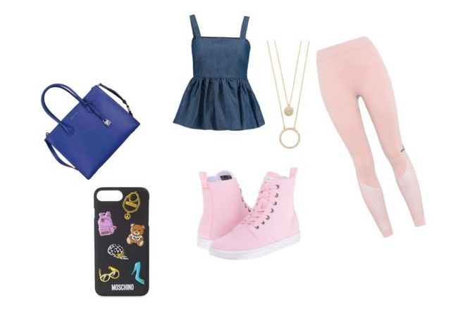 """Pink and blue"" by feliciareyes on Polyvore featuring Dr. Martens, adidas, CO, Michael Kors, Moschino and Kate Spade"