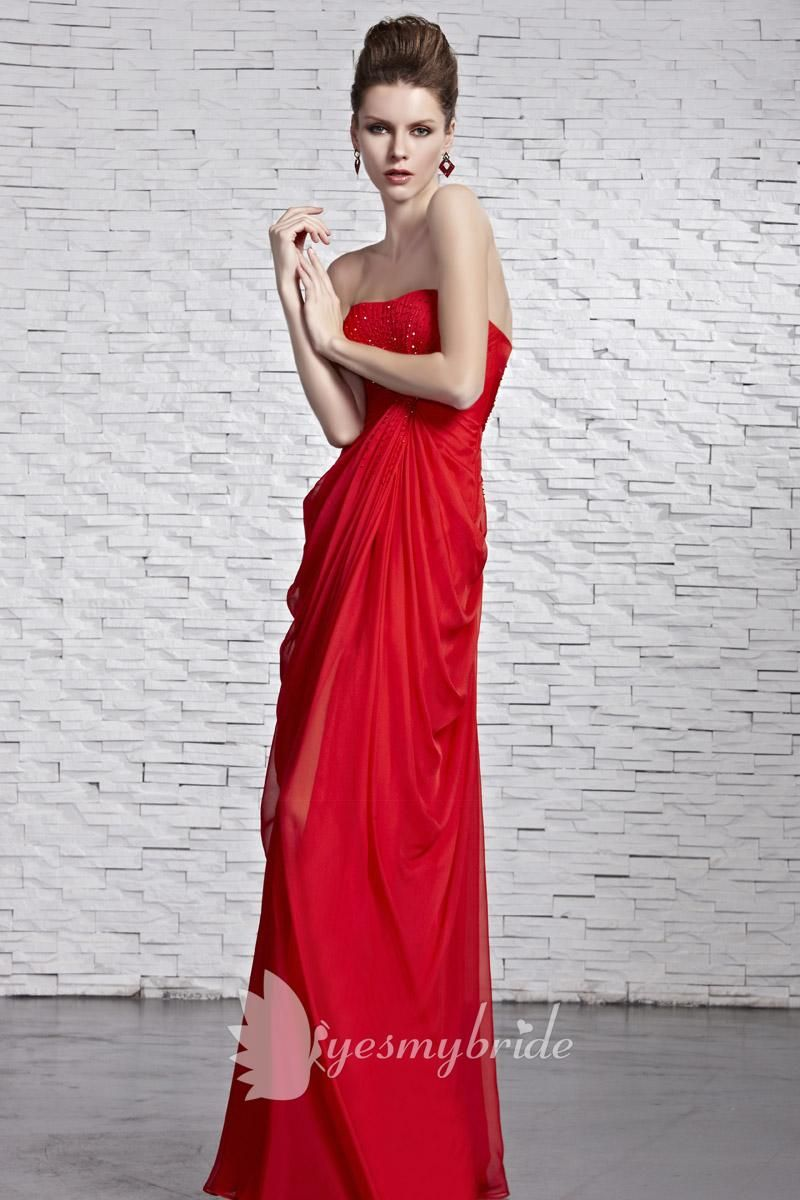 Red strapless empire beaded bodice floor length draped formal dress