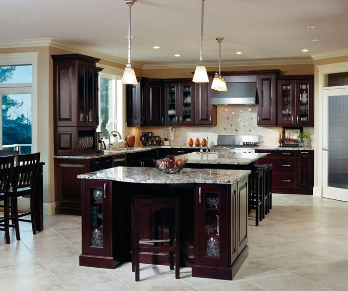 4 Elements Could Bring Out Traditional Kitchen Designs: Traditional Espresso Kitchen Cabinets By Kitchen Craft