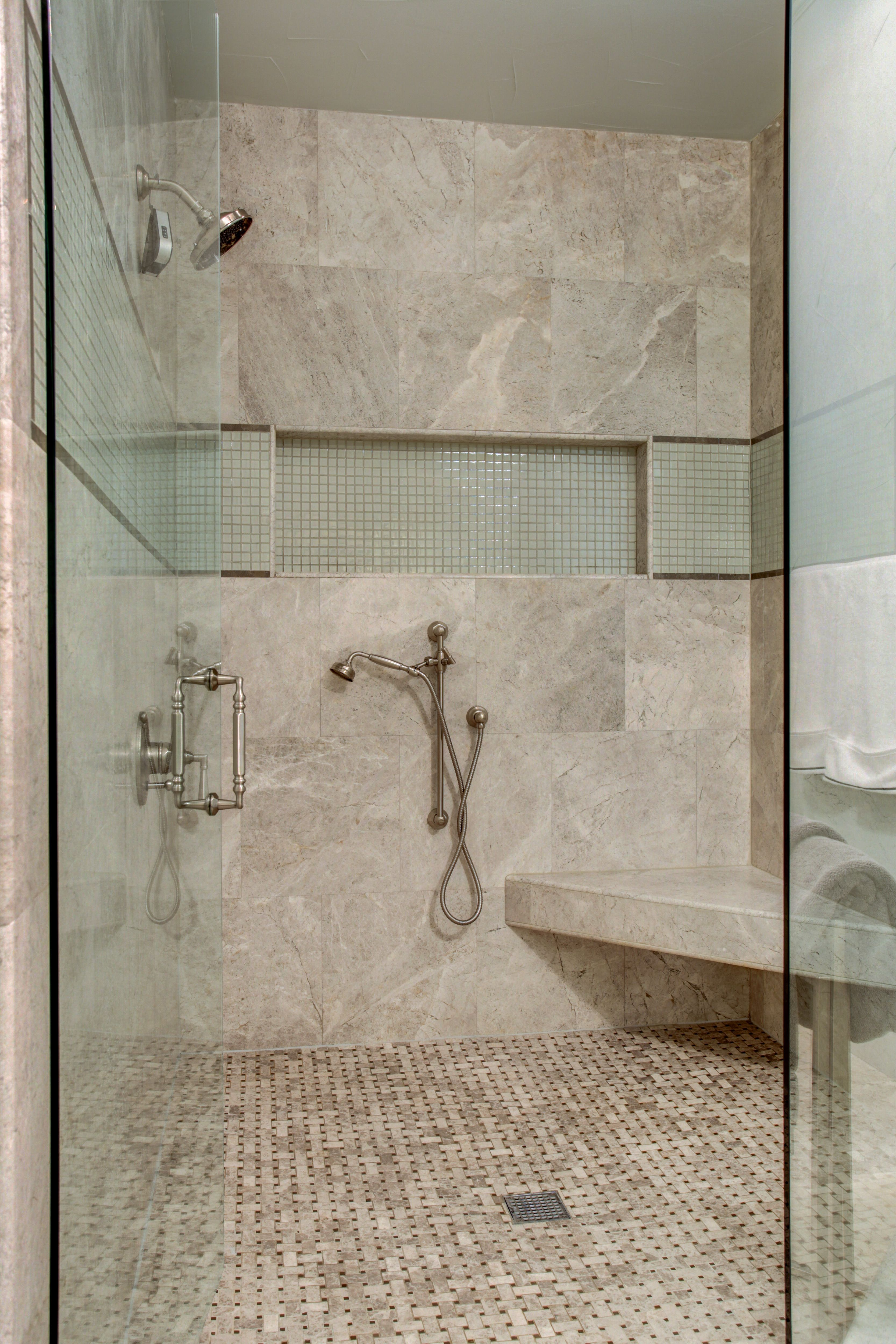 Daltile arctic gray hones tile 9x18 shower wall basketweave daltile arctic gray hones tile 9x18 shower wall basketweave floor renaissance tile tomei 1x1 glass insert with montevido liner rohl palladian shower dailygadgetfo Images