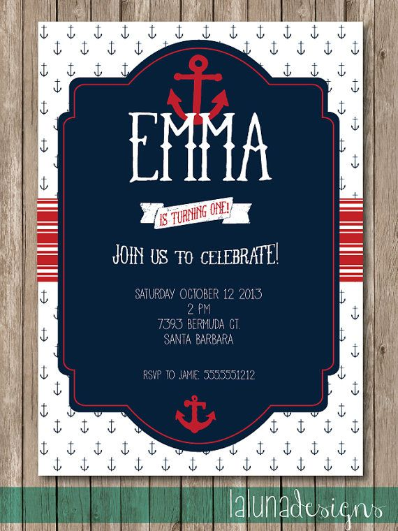 nautical birthday invitation nautical invite nautical party diy
