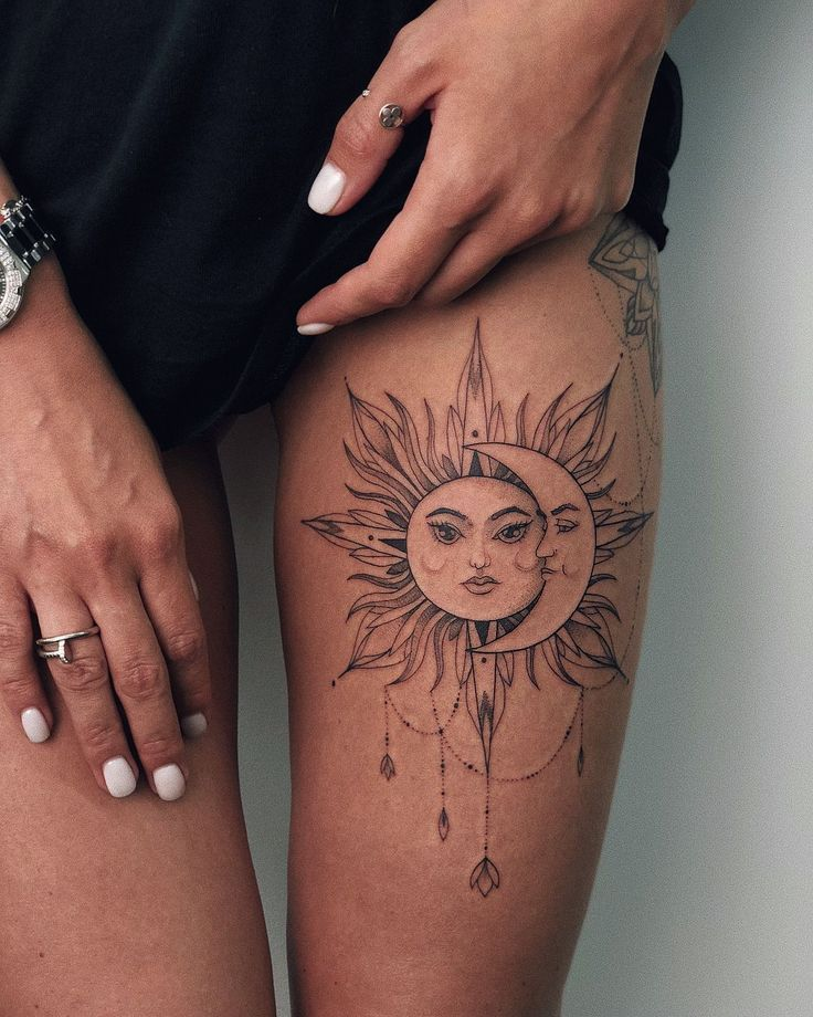 50 Meaningful and Beautiful Sun and Moon Tattoos - KickAss Things