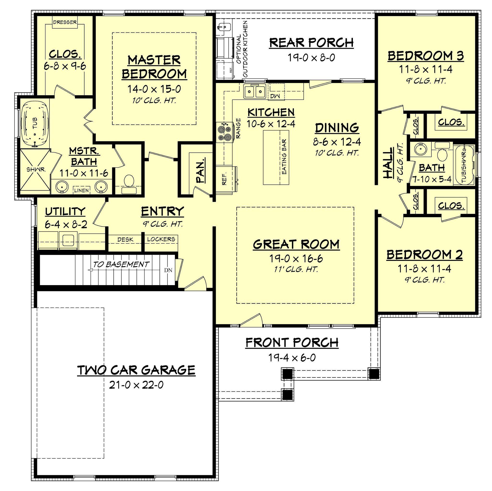 Sandalwood House Plan | Craftsman cottage, Open concept and ...
