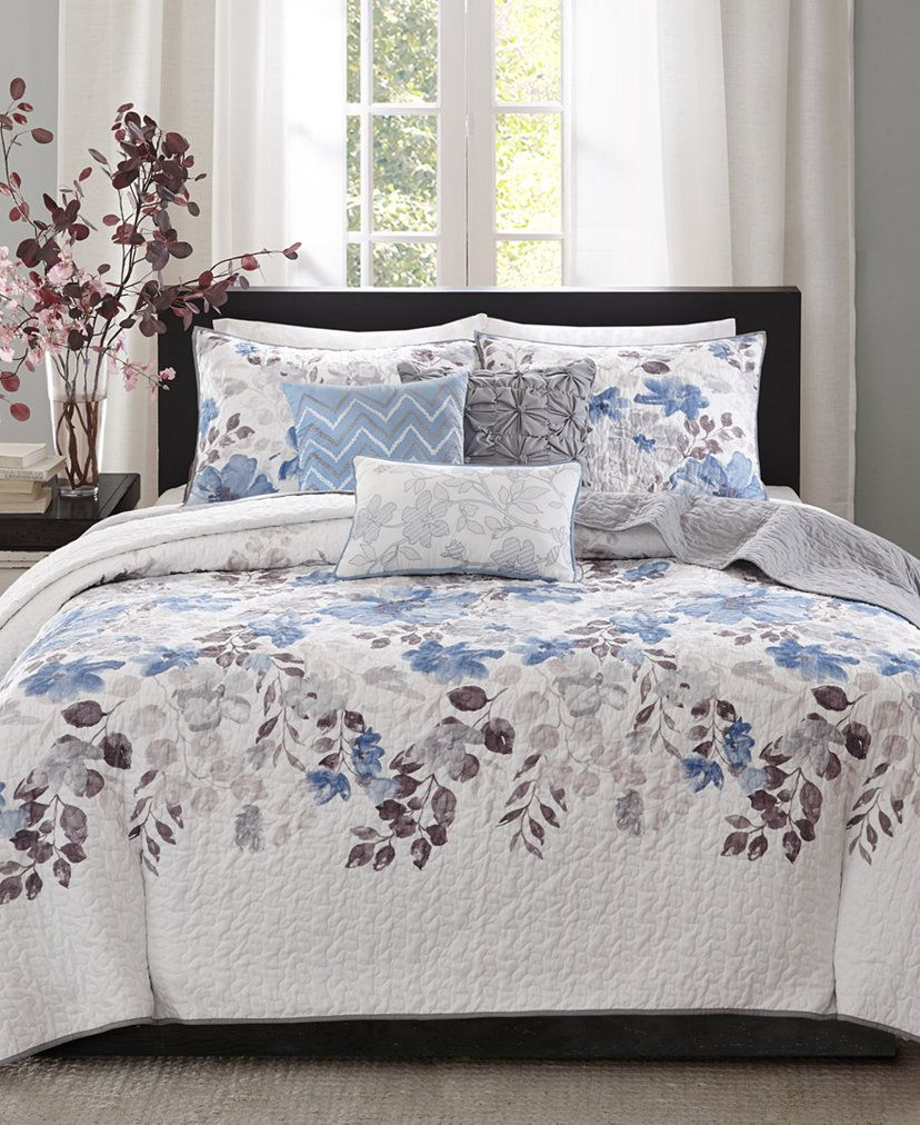 Madison Park Luna 6 Piece King Cal King Quilt Set Reviews Quilts Bedspreads Bed Bath Macy S Coverlet Set Blue Bedding Sets Coverlets California king quilts and coverlets