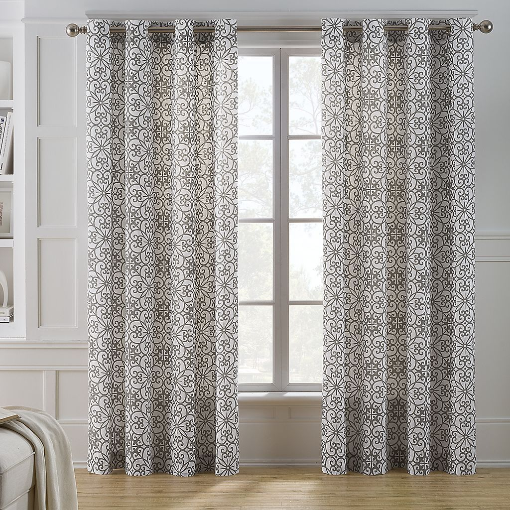 Keeco Chalky Scroll Window Panel Kohls In 2020 Curtains For