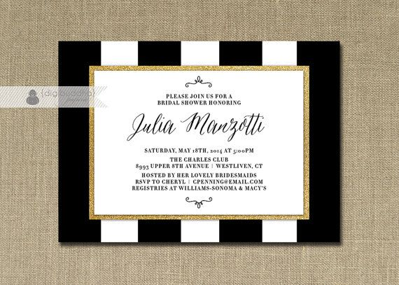 Black White U0026 Gold Bridal Shower Invitation Gold Glitter Stripes Wedding  Hens Party Script FREE PRIORITY SHIPPING Or DiY Printable  Julia
