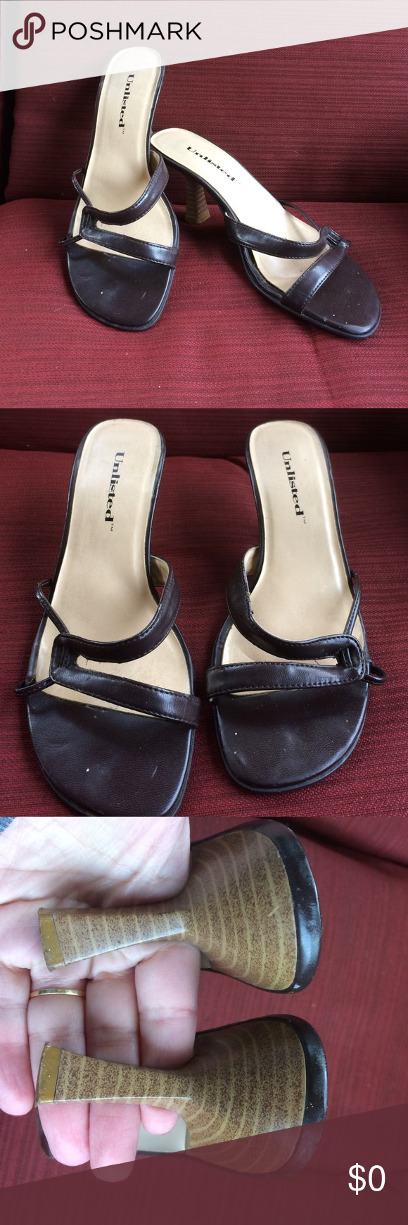 Leather mules Pre-loved condition. Comfortable hight at about inch and a half. Sexy with jeans or long skirt. Brown leather. Shoes Heels