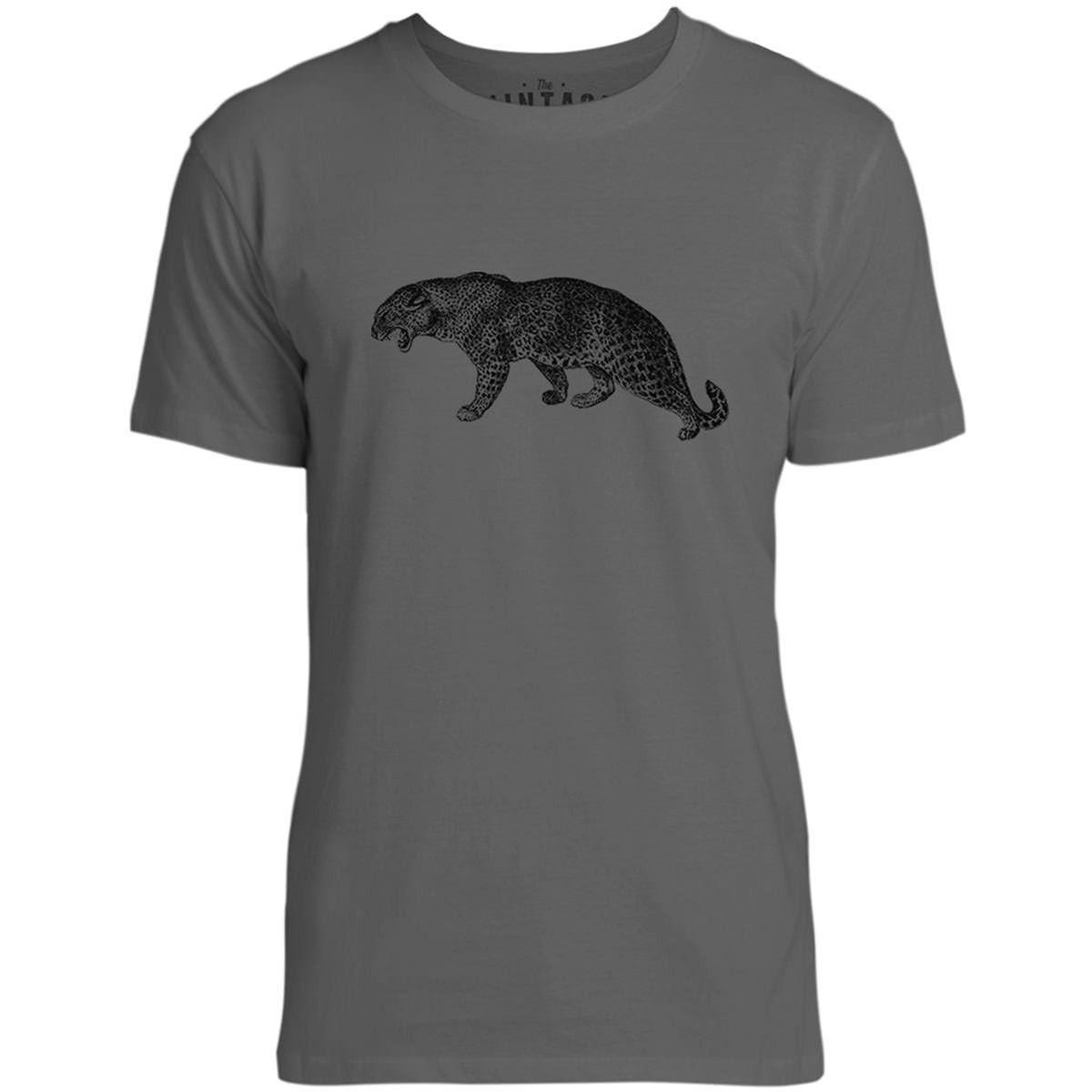 Mintage Big Cat Growling Mens Fine Jersey T-Shirt (Concrete)