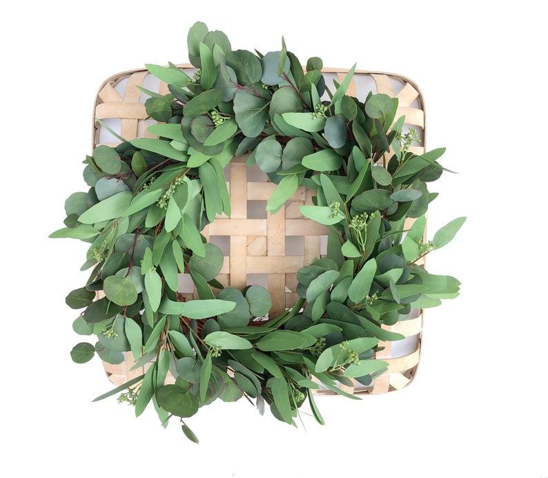 Photo of Faux Seeded Eucalyptus Wreath, Faux Wreath, Greenery Wreath, Dark Green Wreath, Wall Greenery Wreath, Farmhouse Wreath, Indoor Wreath