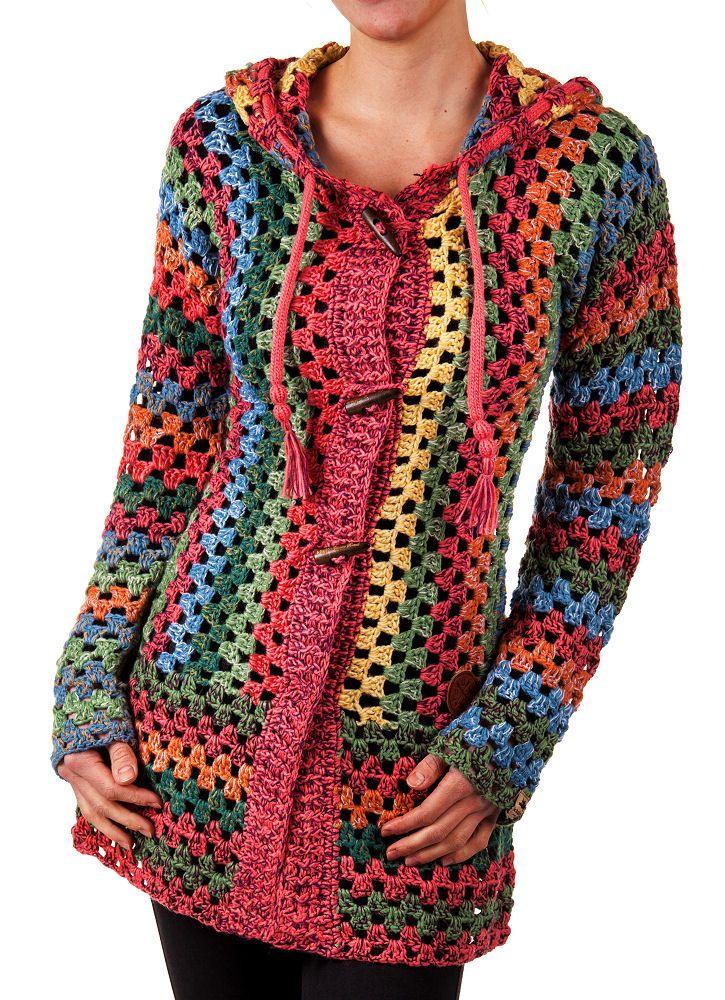 Details zu KHUJO Damen Cardigan Thite multicolor S M L XL Damenjacke ...