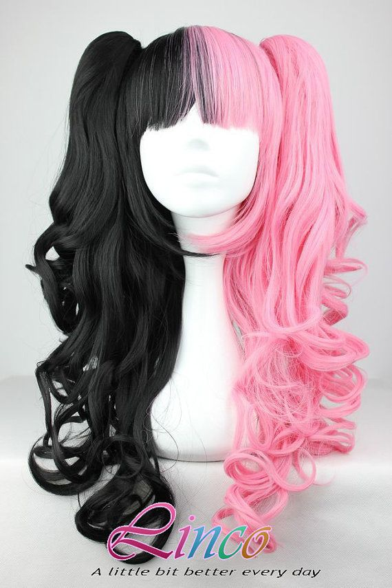70cm-60cm-Long-Pink-and-Black-Mixed-Beautiful-lolita-wig-Anime-Wig