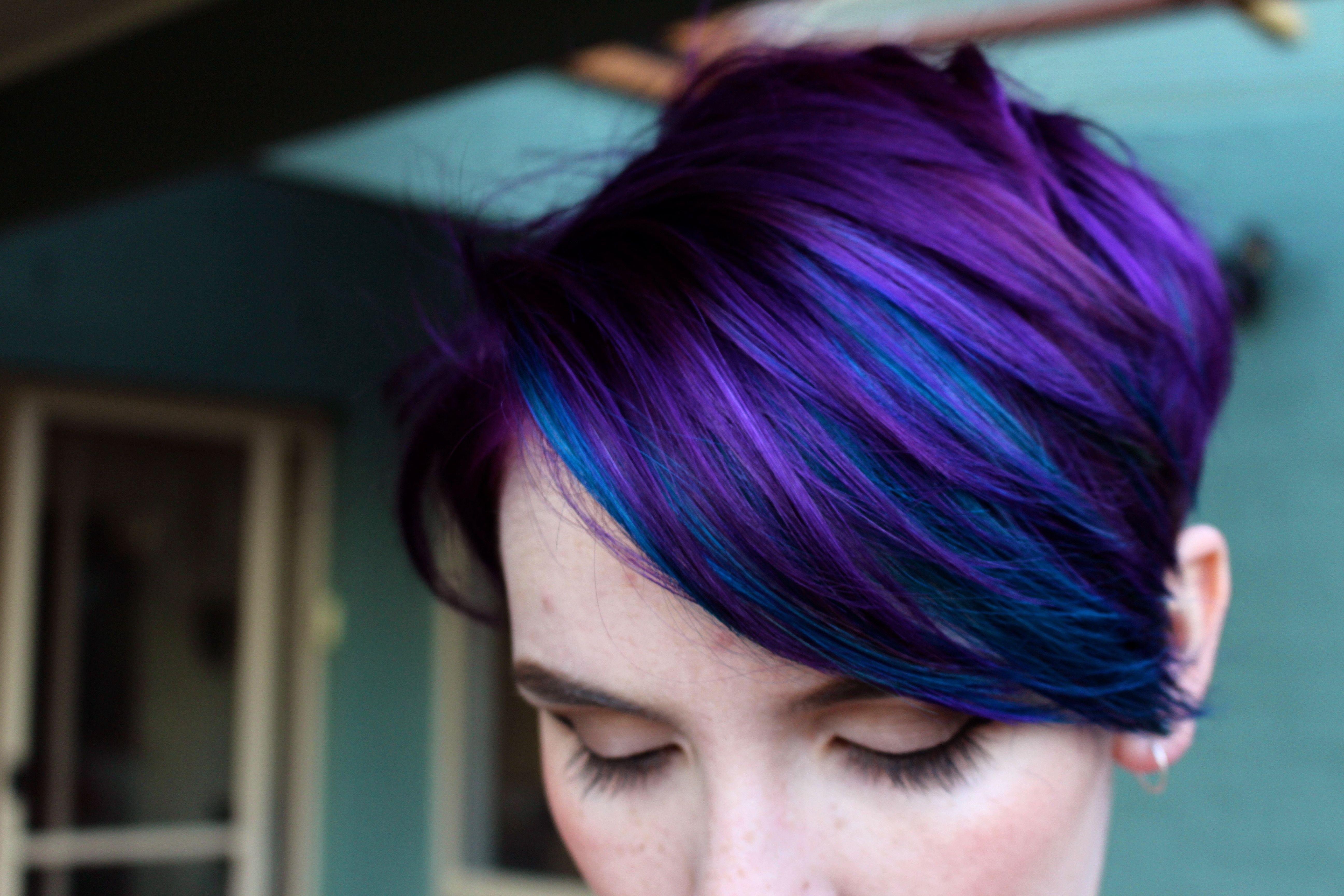 Purple And Blue Imgur In 2020 Cool Hair Color Multicolored Hair Short Hair Styles