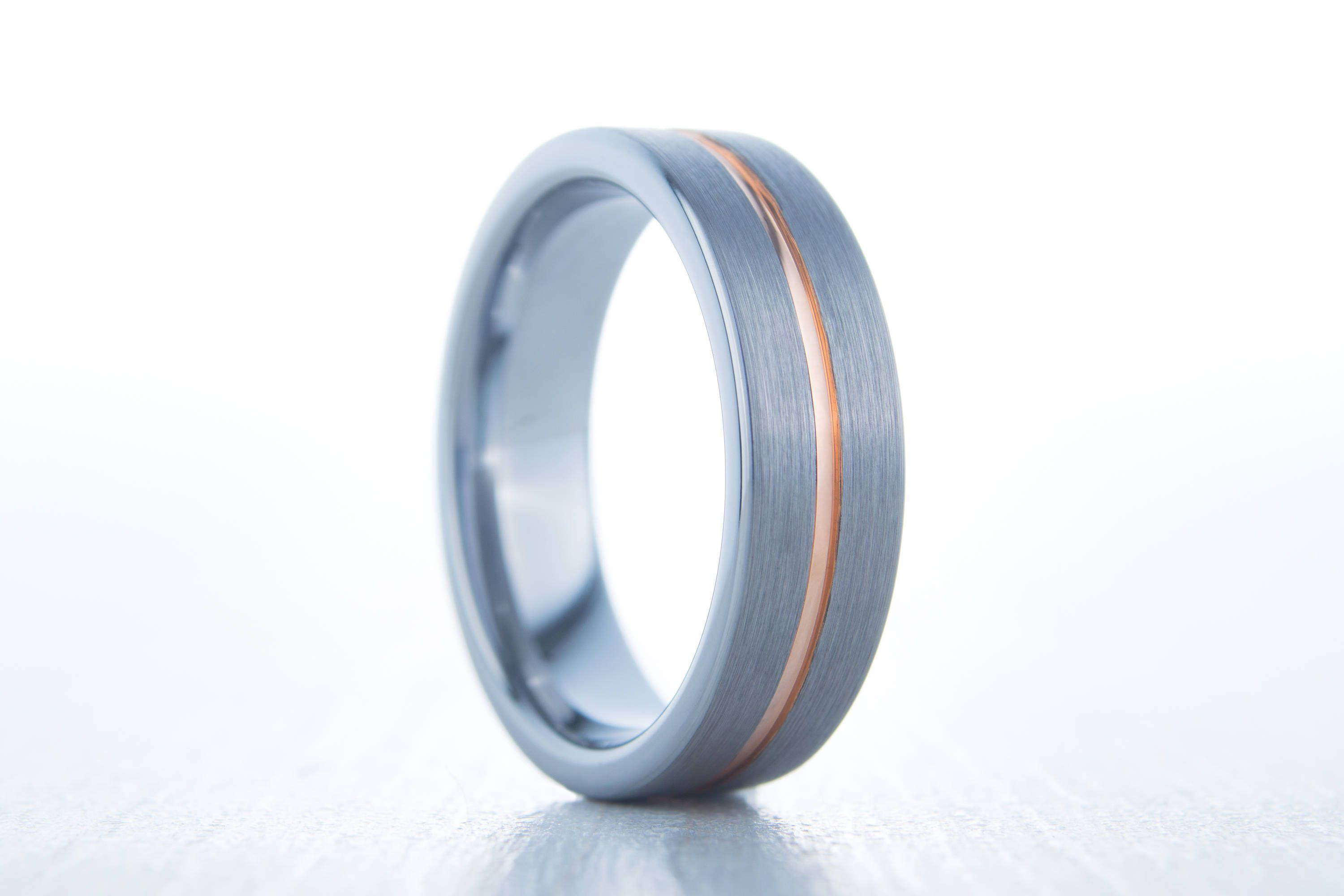 6mm wide 14K Rose Gold and Brushed Titanium Couples