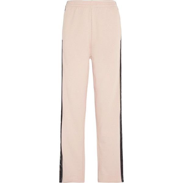 MM6 Maison Margiela Velvet-trimmed cotton-jersey track pants ($340) ❤ liked on Polyvore featuring activewear, activewear pants, mm6 maison margiela, track pants, cotton jersey and pink sportswear