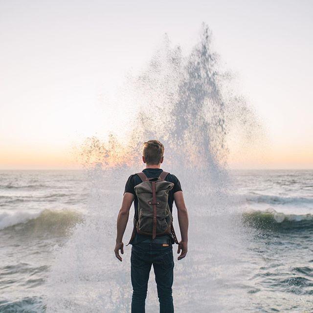 @gregorywoodman braving the splash at Sunset Cliffs.  #liveadventurously