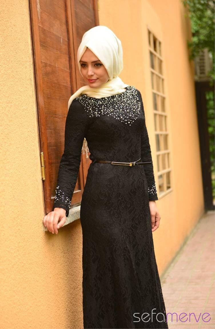 Sefamerve Tesettur Abiye Elbiseler Pdy 4125 03 Siyah Elbiseler The Dress Moda Stilleri