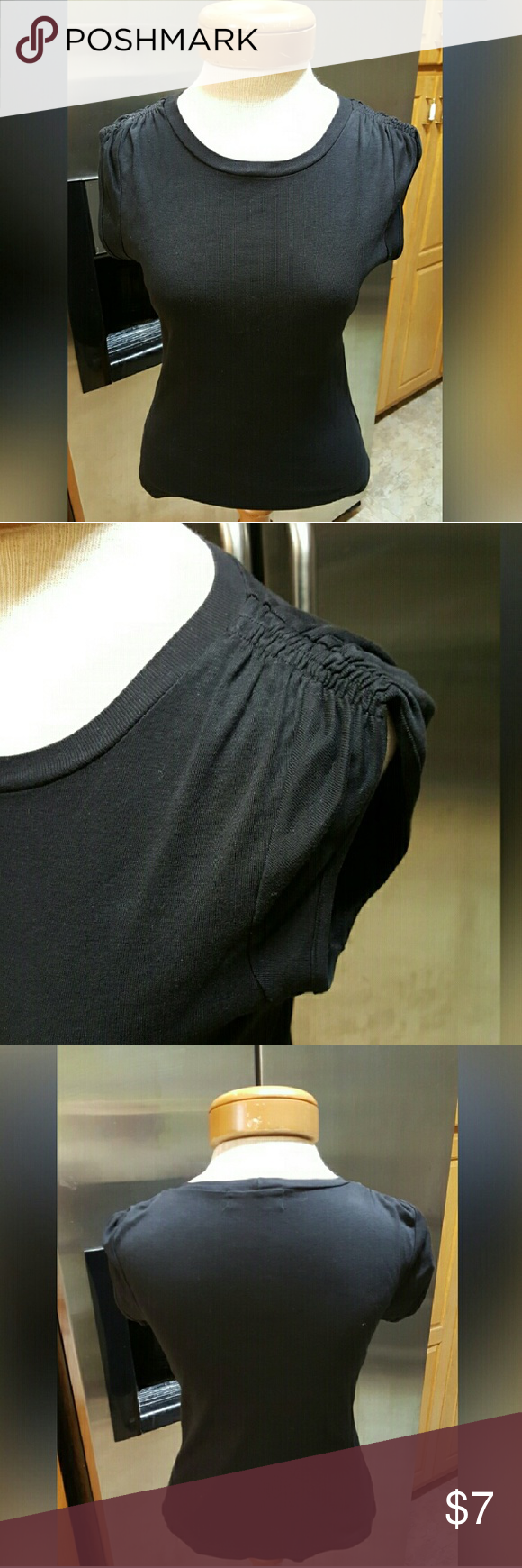 Juicy Couture Top Size Large Juicy Couture Top Size Large 100% cotton, solid black, gathered sleeves.  Feel free to ask any questions before purchasing. Thank you for shopping my closet! Juicy Couture  Tops