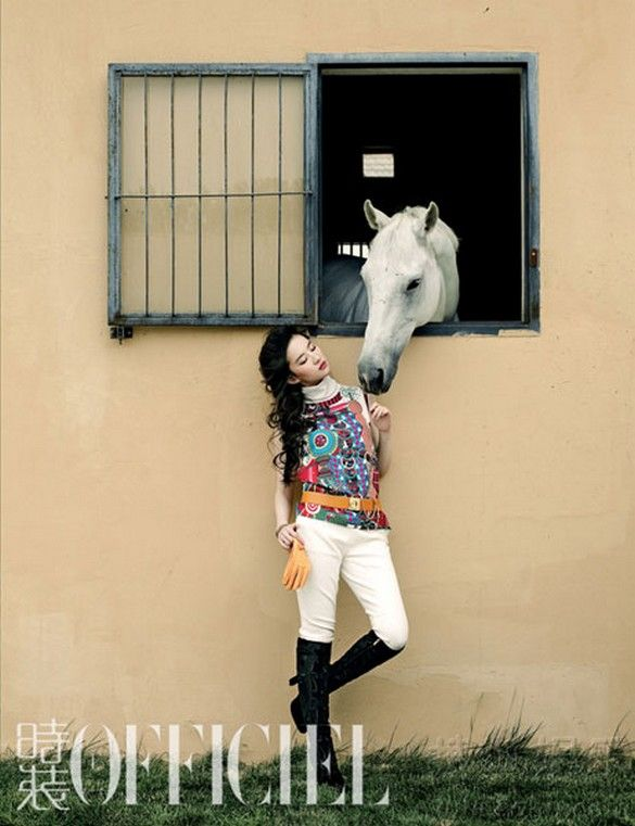 Horse in Fashion with Liu Yifei for L'Officiel China, august 2012 | http://pegasebuzz.com/leblog