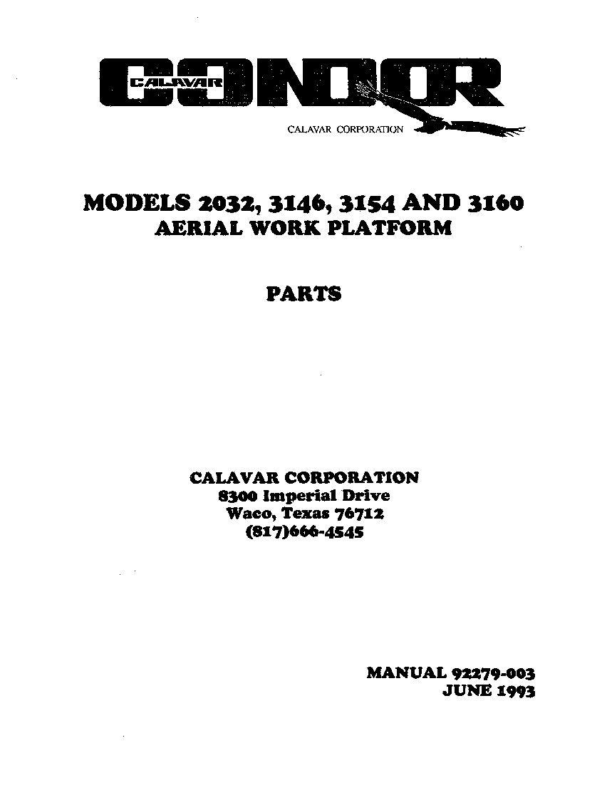 CONDOR 3146,3154 92279 SCISSOR LIFT SCISSOR LIFT Parts