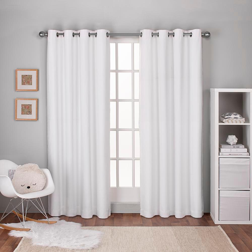 Amalgamated Textiles Textured Linen Winter White Thermal Grommet Top Window Curtain Home Curtains Thermal Curtains Curtains