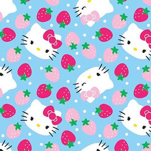 """Springs Creative Hello Kitty Fleece Strawberry Toss Light Blue 59"""" wide Fabric by the Yard"""
