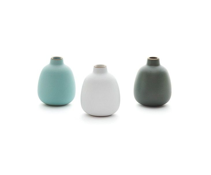 Heath Ceramics Bud Vase Set Arctic Shell White And Sequoia
