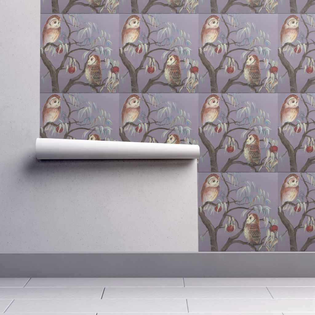 Wallpaper Owls and Pomeganates in 2020 Owl wallpaper
