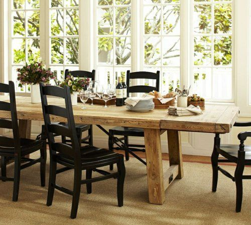 rustikale esstische lang und stühle aus massivem holz in schwarz, Esszimmer dekoo