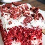 Red Velvet Cheesecake Cake #redvelvetcheesecake Red Velvet Cheesecake Cake - This Silly Girl's Kitchen #redvelvetcheesecake