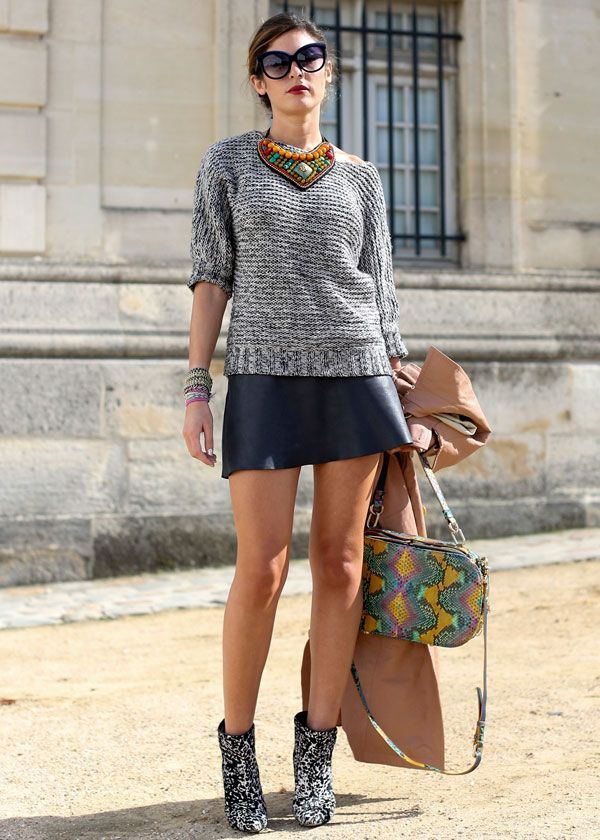 miniskirt and sweater outfit
