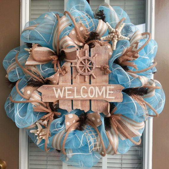 Do It Yourself Home Design: Beach Theme Deco Mesh And Burlap Wreath By