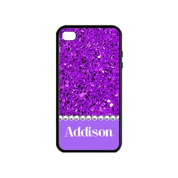 Personalized Blinged Out Babe Phone Case Purple