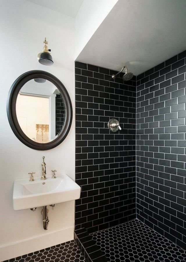 De Haute Qualite Carrelage Salle Bain Noir Blanc Style Metro Motif Ruche Abeilles Salle De  Bain Noir Et Blanc