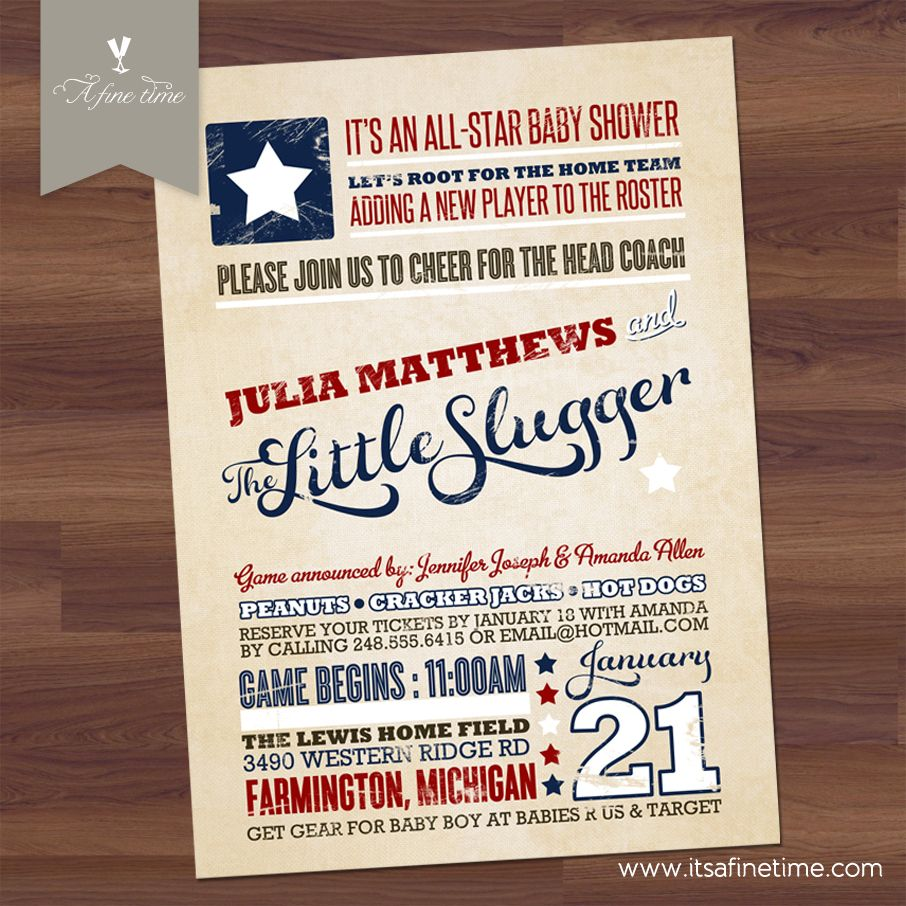 Little Slugger - All Star Baby Shower - Vintage Americana Theme ...