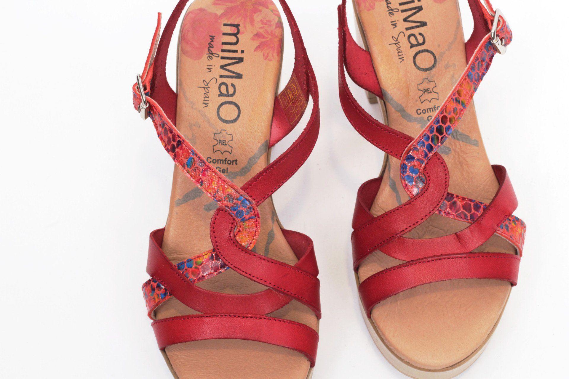 d498a2090f2 miMaO Eivissa Rojo - Sandalias mujer tacón plataforma cómodo piel - Comfort  women s sandals heel platform red leather
