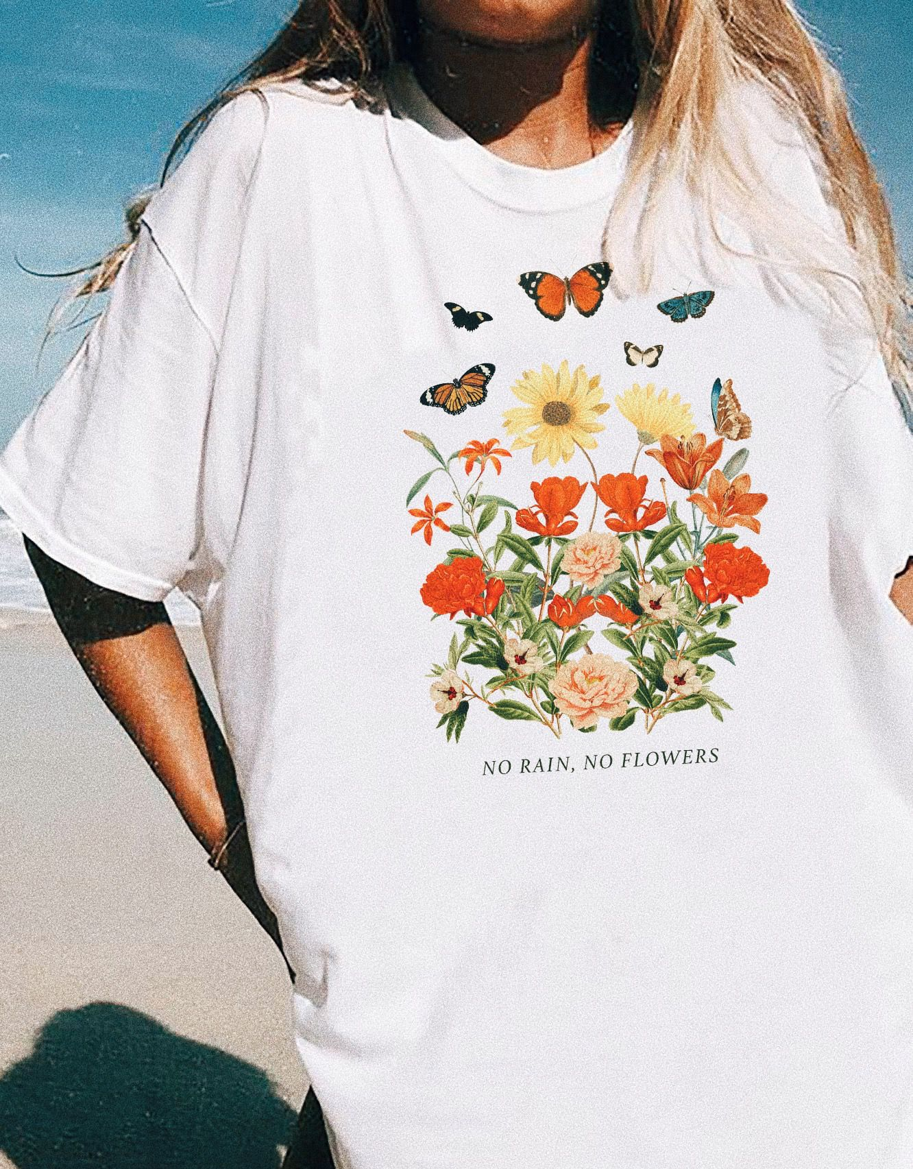 61cec866 No rain, no flowers vintage inspired graphic t-shirt featuring flowers and  butterfly graphics #graphictee #vintagetee