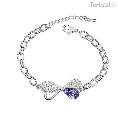 Bracelet Swarovski forme papillon couleur violet