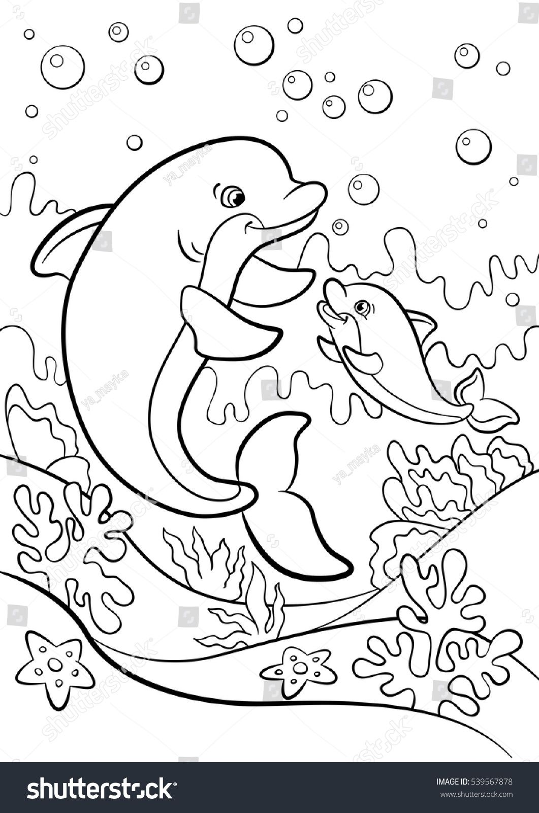 Stock Vector Coloring Pages Marine Wild Animals Mother Dolphin