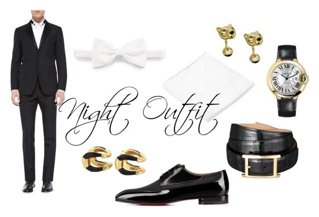 """night outfit"" by mrwhospain on Polyvore featuring Cartier, Club Room, Brioni, Givenchy, Christian Louboutin, men's fashion, menswear, fashionset y styleinsider"