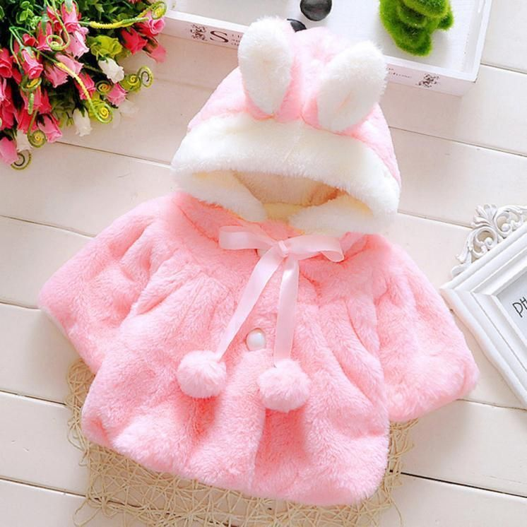 c728e75790fc Newborn Kids Baby Girls Warm outerwear Hoodie Hooded Coral Velvet ...