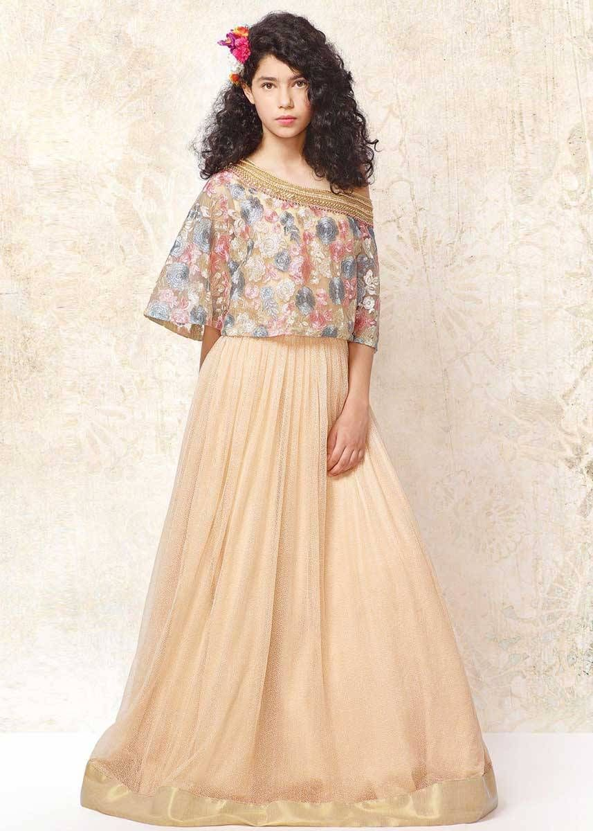 3effbad2771 Cream Color Galaxy Lyrca Net Long Gown For Kids in 2019